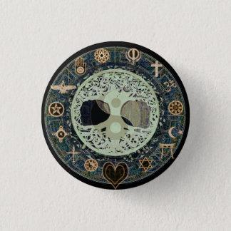 Peaceful Living Retro Yin Yang w/Tree of Life Pinback Button