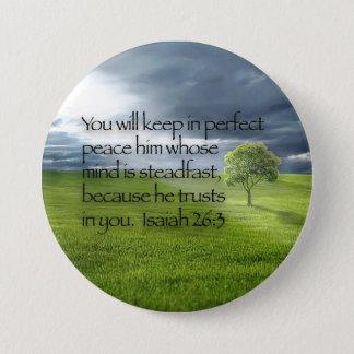 Peaceful Lone Tree Bible Verse Isaiah 26:3 Pinback Button