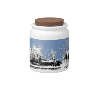 Peaceful Meadow with Cows and Blue Sky Candy Jars