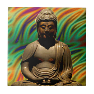 Peaceful Meditating Buddha Prints Ceramic Tile