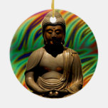 Peaceful Meditating Buddha Prints Double-Sided Ceramic Round Christmas Ornament
