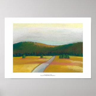 Peaceful modern impressionist landscape art path poster