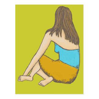 Peaceful Moment, Seated Female Figure Postcard