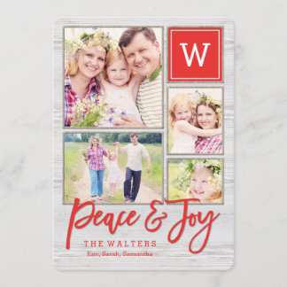 Peaceful Monogram Holiday Photo Collage Card