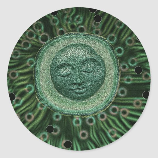 Peaceful Moon Classic Round Sticker