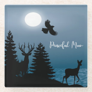 Peaceful Moon - Silhouettes Wildlife and Lake Glass Coaster
