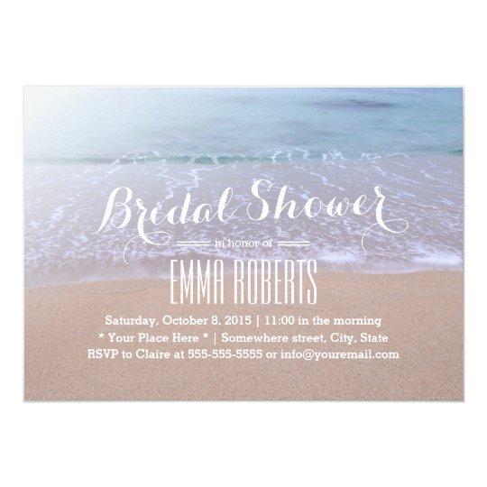 peaceful morning beach theme bridal shower invitation