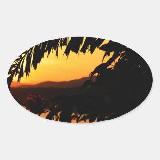 Peaceful Morning Sun Oval Sticker