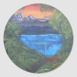Peaceful Mountain Sunset Classic Round Sticker