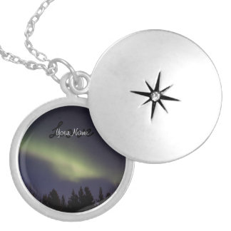 Peaceful Northern Lights; Customizable Locket Necklace
