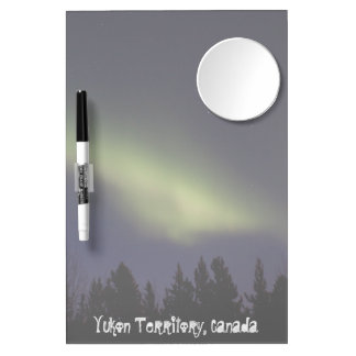 Peaceful Northern Lights; Yukon Souvenir Dry Erase Board With Mirror