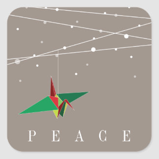 Peaceful Origami Paper Crane Holiday Sticker