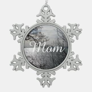 Peaceful Overlook Snowflake Pewter Christmas Ornament