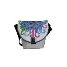 Peaceful Peacock Small Messenger Courier Bag
