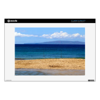 Peaceful picture of fishing rods on a beach, Maui Skin For Laptop