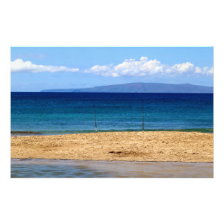 Peaceful picture of fishing rods on a beach, Maui Stationery