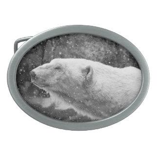Peaceful Polar Bear Oval Belt Buckle