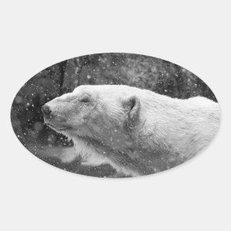 Peaceful Polar Bear Oval Sticker