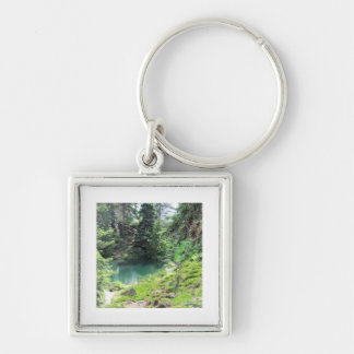 Peaceful Pond Evergreen Trees Nature Photography Silver-Colored Square Keychain