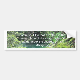 Peaceful Pond Ps 91:1 bible verse Trees Photo Bumper Sticker