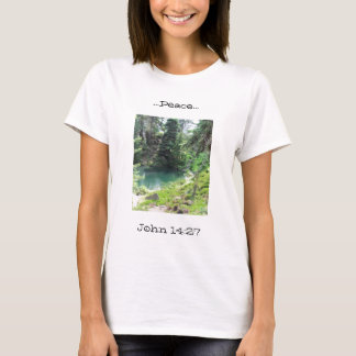 Peaceful Pond scripture Evergreen Trees Photograph T-Shirt