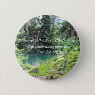 Peaceful Pond Trees bible verse Photo Pinback Button