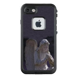Peaceful Praying White Stone Angel on Purple LifeProof FRĒ iPhone 7 Case