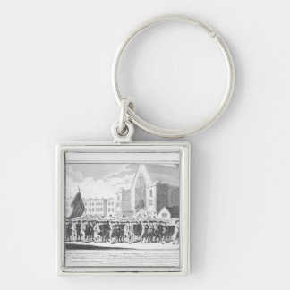 Peaceful Procession of the Members of Protestant Silver-Colored Square Keychain