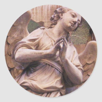 Peaceful Renaissance Angel Classic Round Sticker