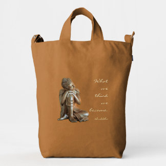 Peaceful resting Buddha with words of wisdom Duck Bag