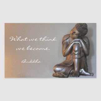 Peaceful resting silver Buddha words of wisdom Rectangular Sticker