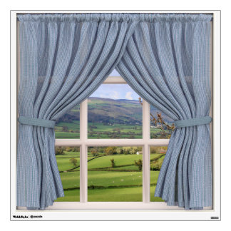 Peaceful Scenery Window View: Green Valley Wall Decal
