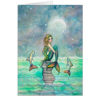 Peaceful Sea Mermaid and Fish Fantasy Art Card
