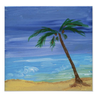 peaceful seascape painting by Halima Print