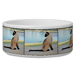 Peaceful Siamese Cat Painting Bowl