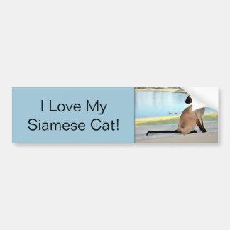 Peaceful Siamese Cat Painting Bumper Sticker