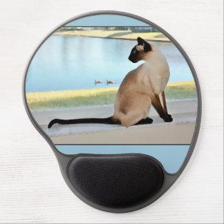 Peaceful Siamese Cat Painting Gel Mousepad