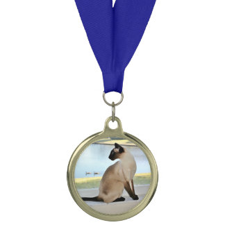 Peaceful Siamese Cat Painting Medal