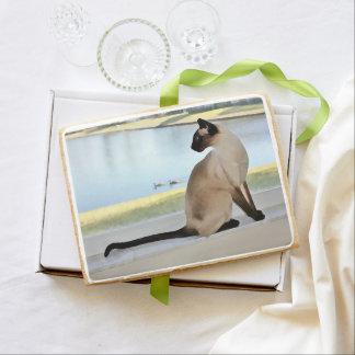 Peaceful Siamese Cat Painting Jumbo Cookie