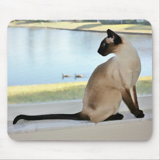 Peaceful Siamese Cat Painting Mousepads