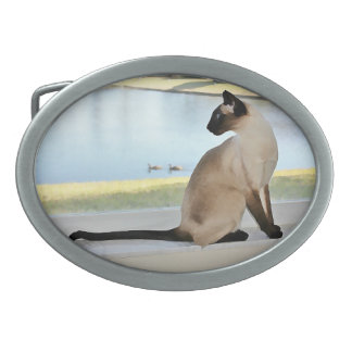 Peaceful Siamese Cat Painting Oval Belt Buckle