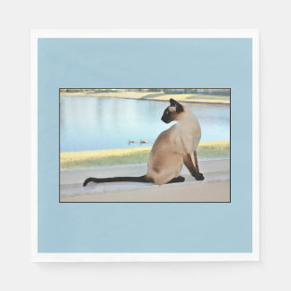 Peaceful Siamese Cat Painting Paper Napkin