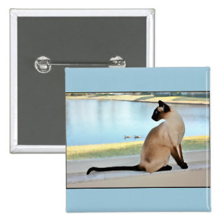 Peaceful Siamese Cat Painting Pinback Button