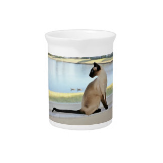 Peaceful Siamese Cat Painting Drink Pitchers