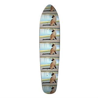 Peaceful Siamese Cat Painting Skateboard Deck