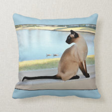 Peaceful Siamese Cat Painting Throw Pillow