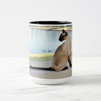 Peaceful Siamese Cat Painting Two-Tone Coffee Mug