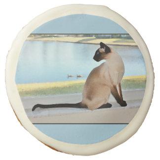 Peaceful Siamese Cat Painting Sugar Cookie