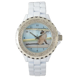 Peaceful Siamese Cat Painting Wrist Watches