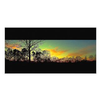 Peaceful Silhouette Sunset Photo Card